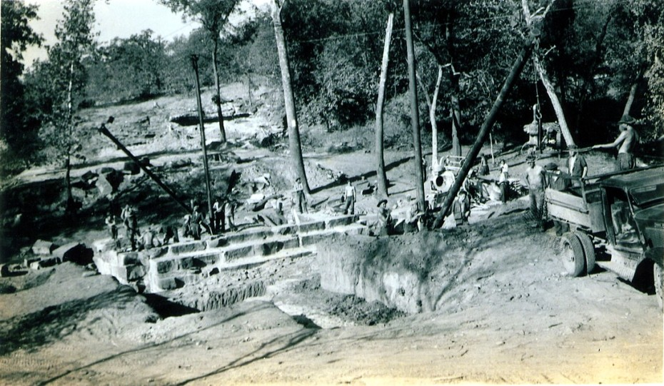 Building The Osage Hills State Park Auto Bridge in Bobcat Hollow - 1936