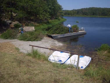 ODWC Technicians prepare to make fish habitat