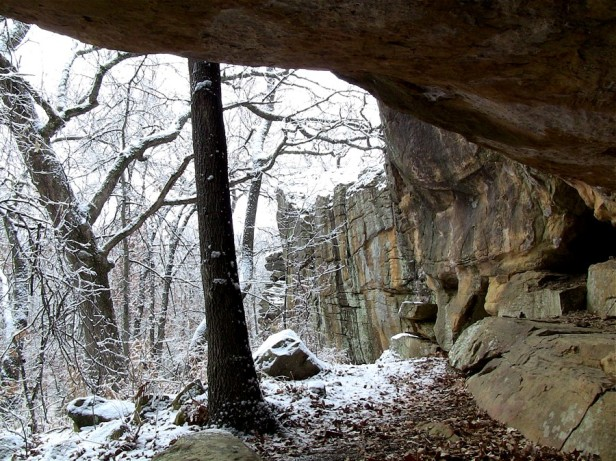 Looking out from an ancient shelter that once protected paleo-Indian occupants in what is now Osage Hills State Park.