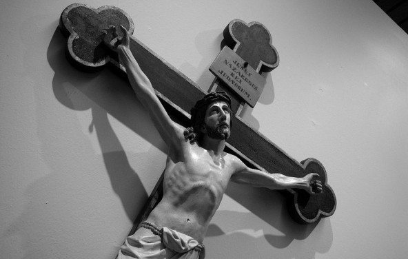 Perspective of Christ on the cross at Subiaco Abbey